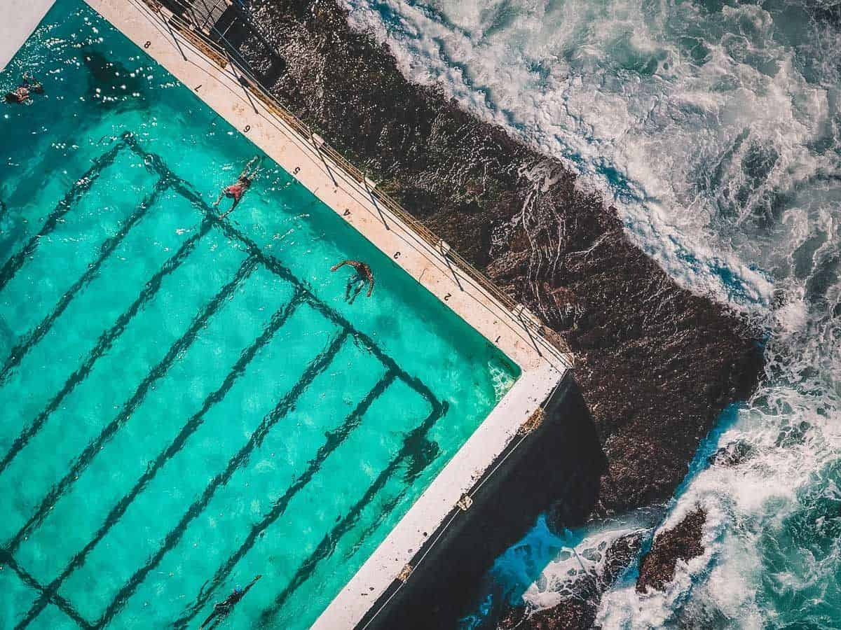 Best Travel Exercise Equipment - Aerial shot of people doing laps in a pool