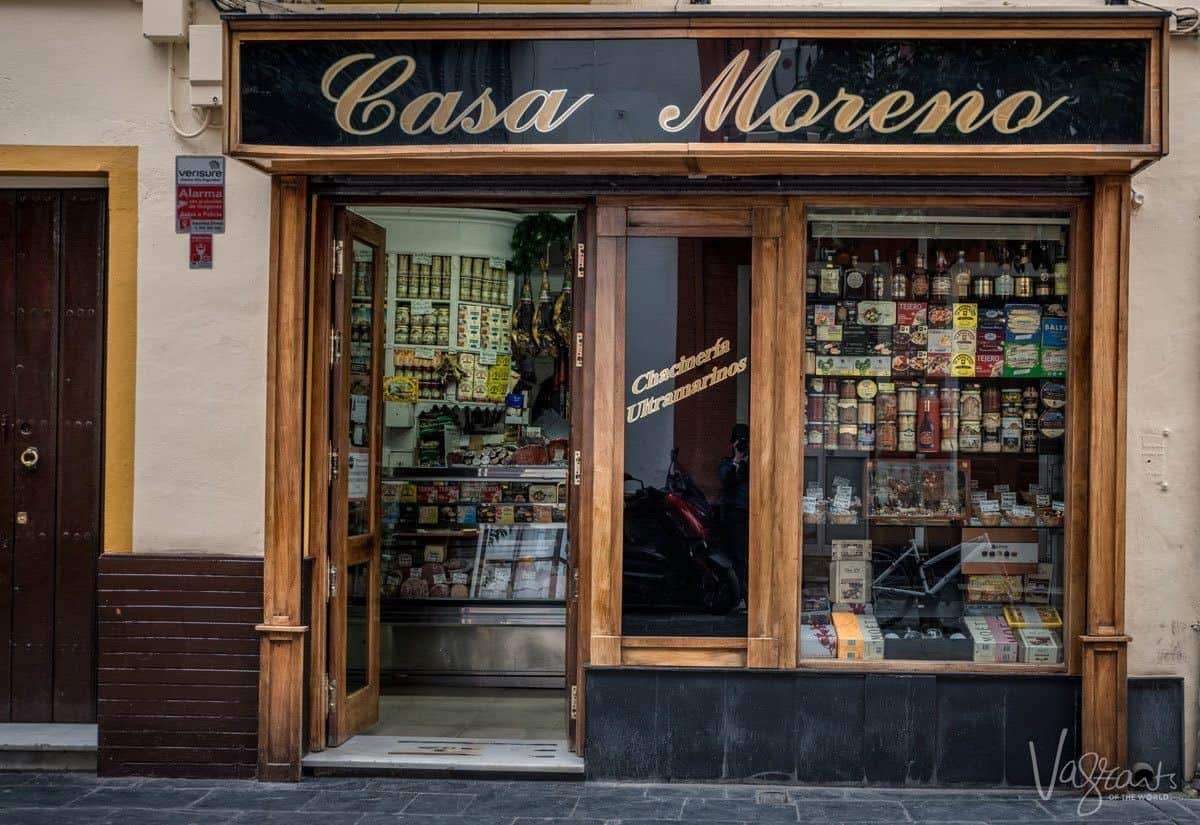 Casa Morena Sevilles oldest grocery store and secret bar. One of the best places to eat in seville.