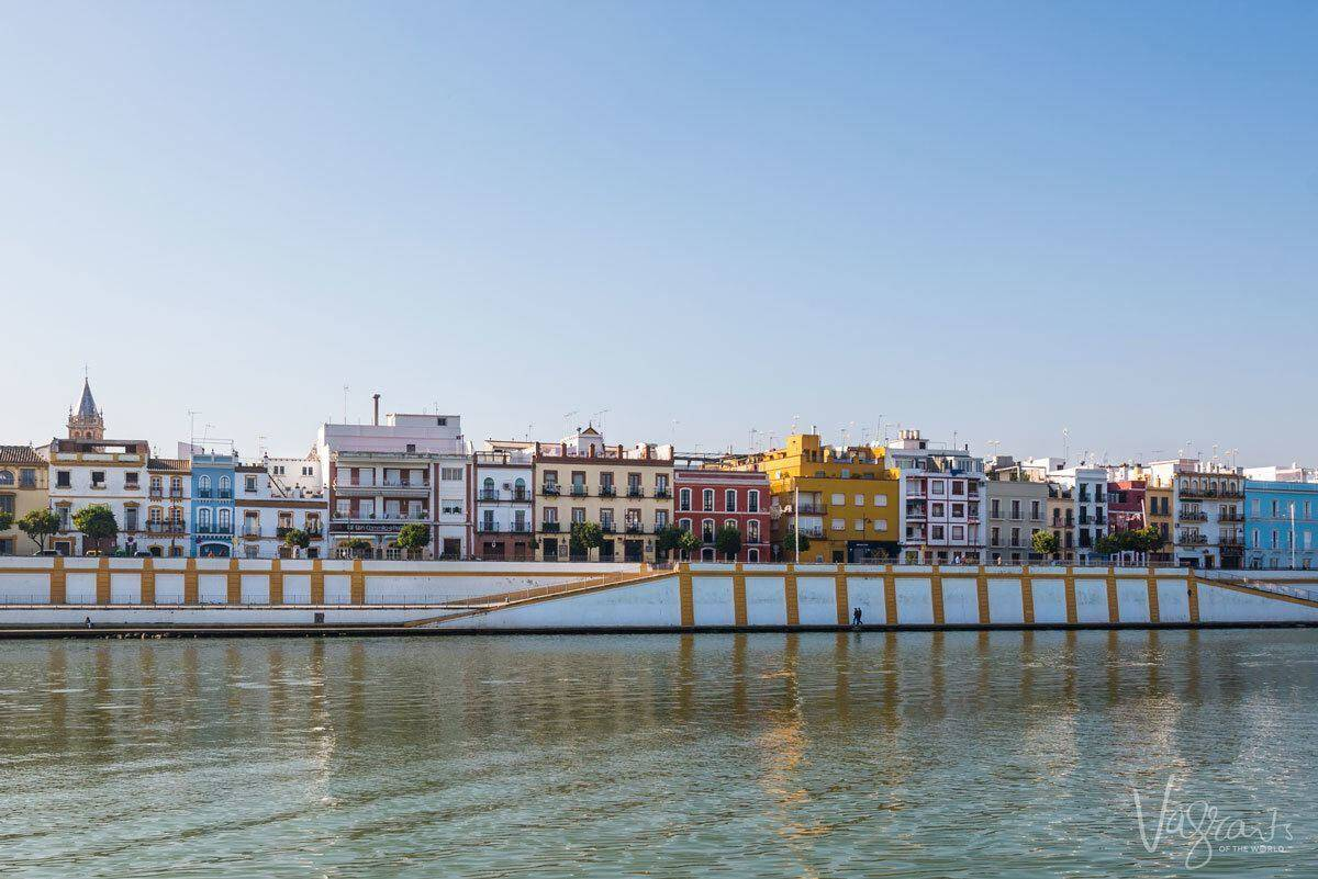 Houses as a backdrop to the river in Triana Seville.