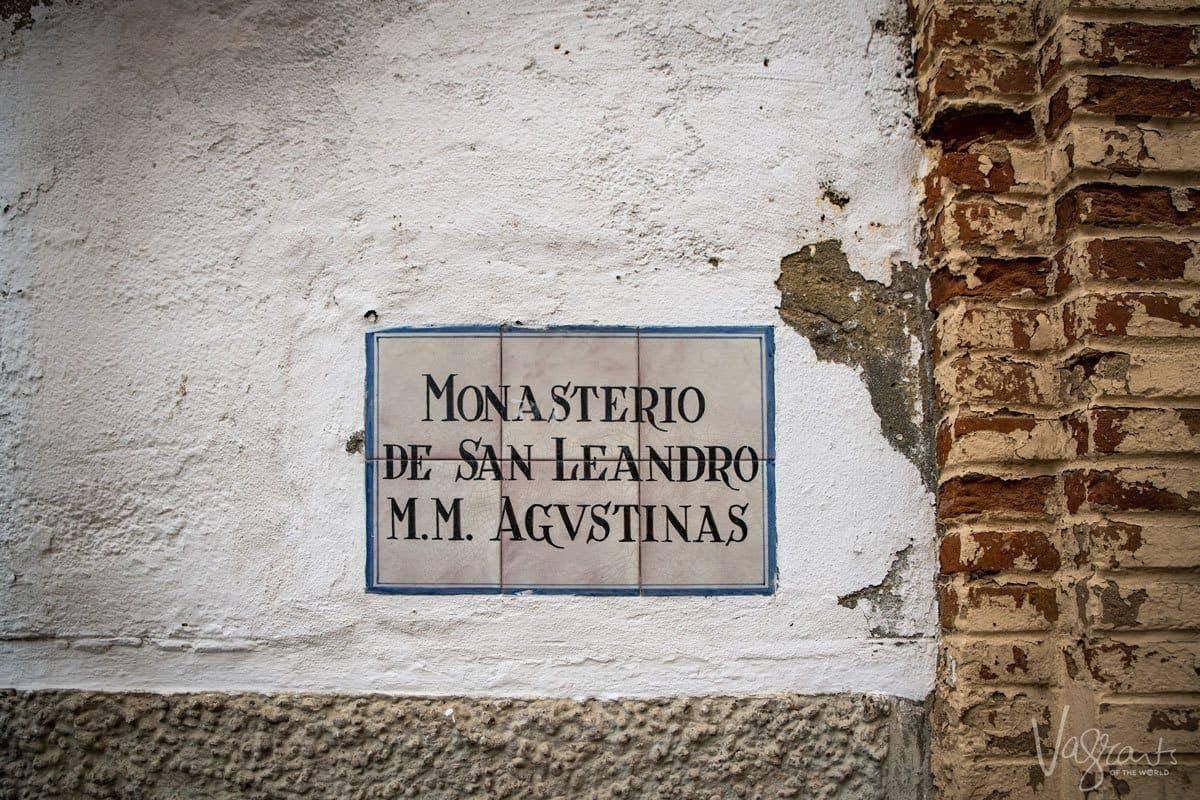 Sign for Convento de San Leandro Seville