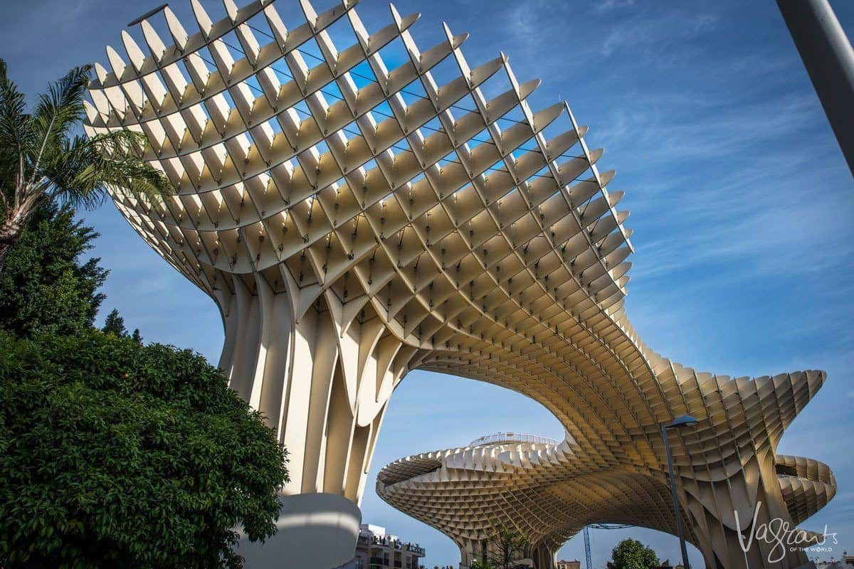 Weird mushroom like sculpture that is Las Setas De Sevilla | The Metropol Parasol, to stand and look at this from different angles in the plaza is an unusual thing to do in seville