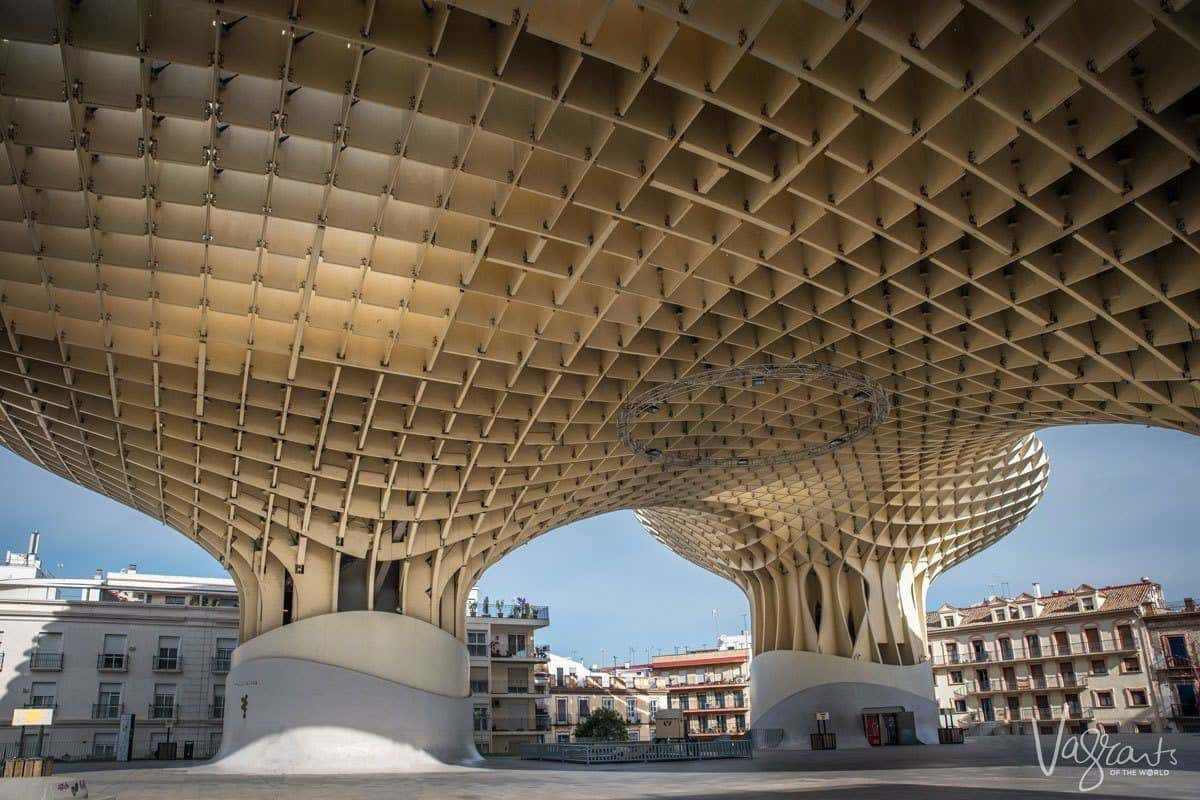 Plaza underneath the honeycombed Las Setas De Sevilla | The Metropol Parasol, a free place to visit in seville.