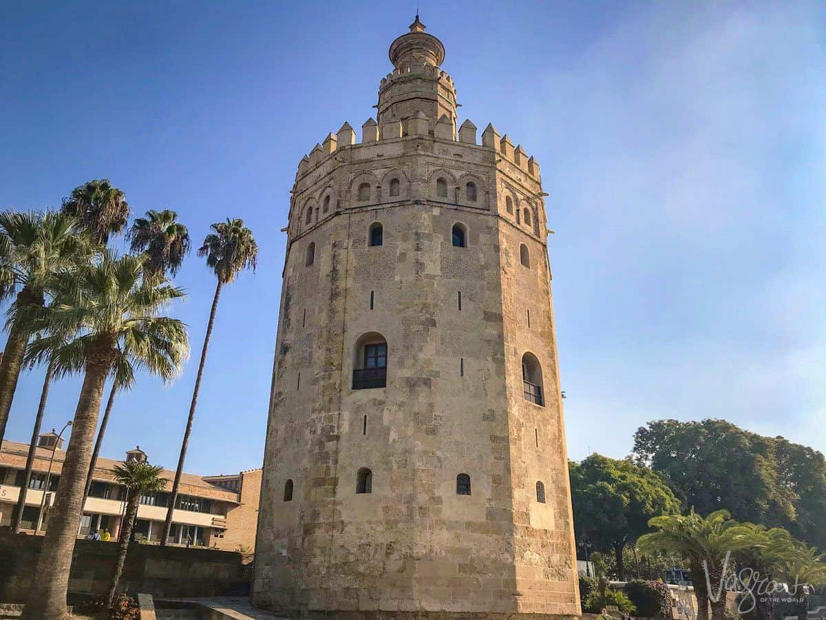 Golden watchtower of Torre del Oro Seville. There are plenty of free things to do in Seville you just need to know where to look