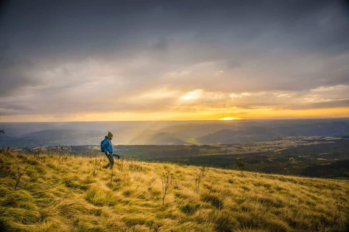 Man hiking through golden fields at sunset.