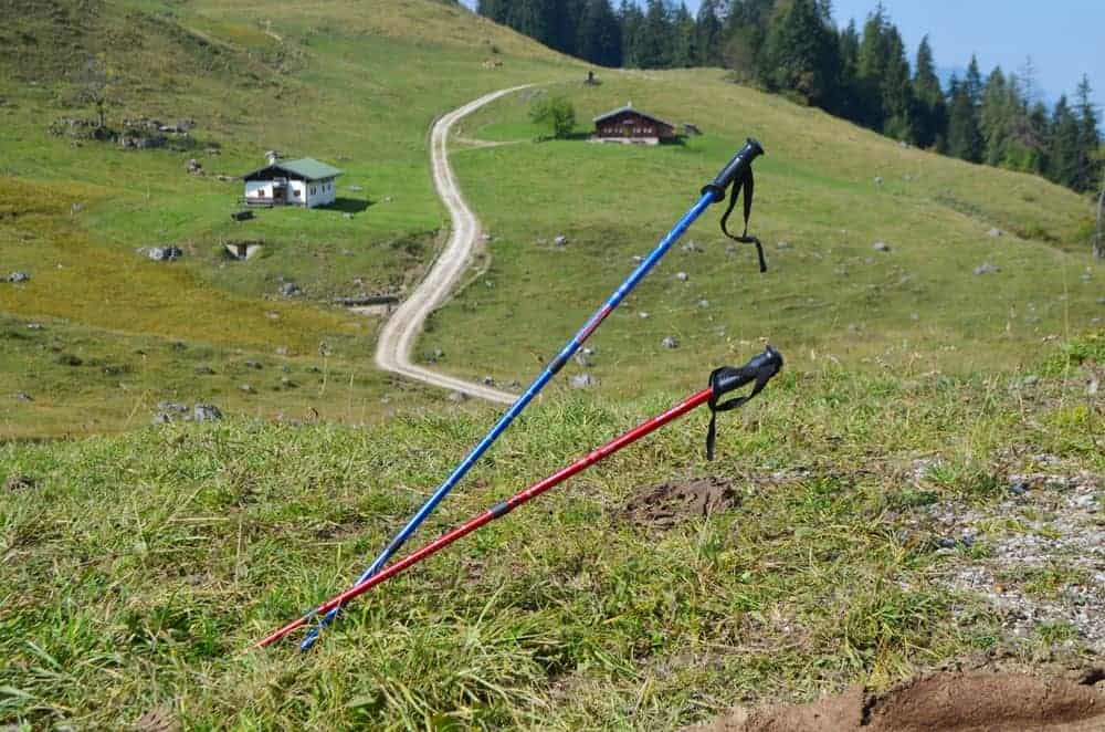 Two walking/trekking poles in the ground on a mountainside.