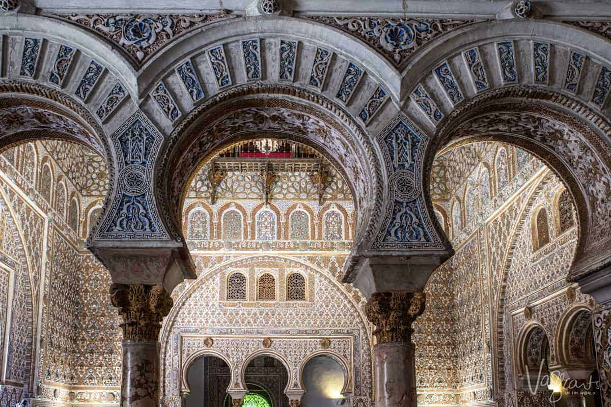 The stunning arches and Mudéjar architecture inside the Alcazar Palace of Seville is some of the most striking in the world. The palace is definitely one of the best things to see in Seville Spain.