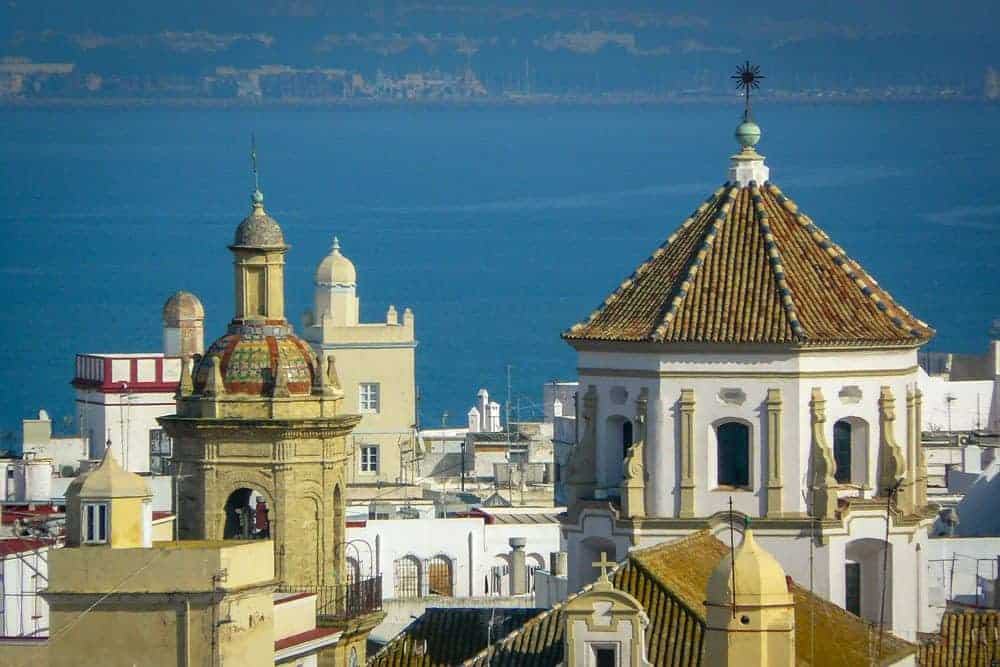 the town of Cadiz with ocean back drop. This is a reason to visit Cadiz on Day trips from Seville