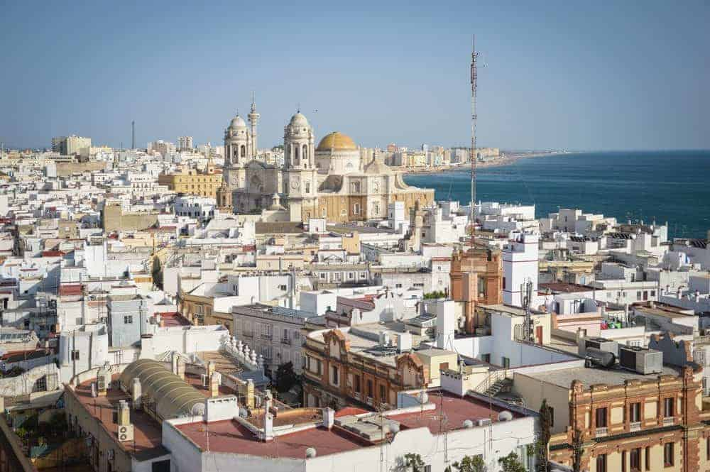 white roof tops and church in Cadiz. This a one of the best Day trips from Seville to Cadiz