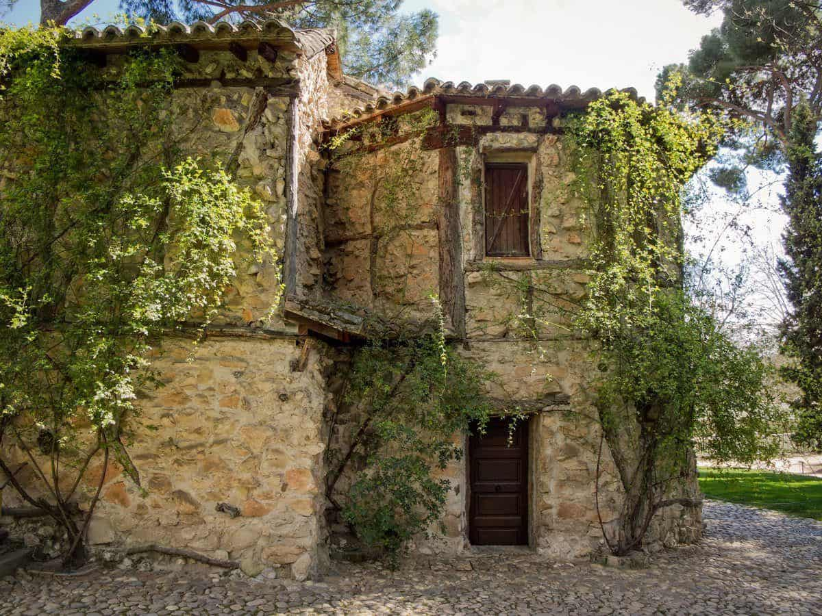 Stone dwelling covered in green vines. A great place to take photos on the best Day Trips from Seville to Osuna. Add this to your Seville itinerary.