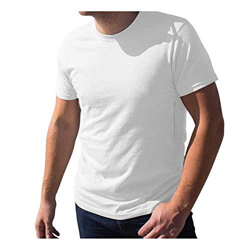 Pickpocket Proof Crew Necked Men's T-Shirt with 2 Hidden Zipper Pockets