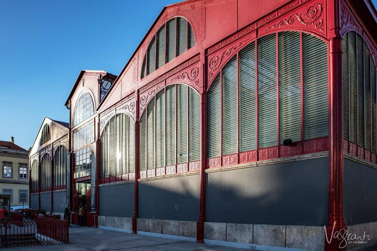 The red steel fresh market building, an iconic porto attraction.
