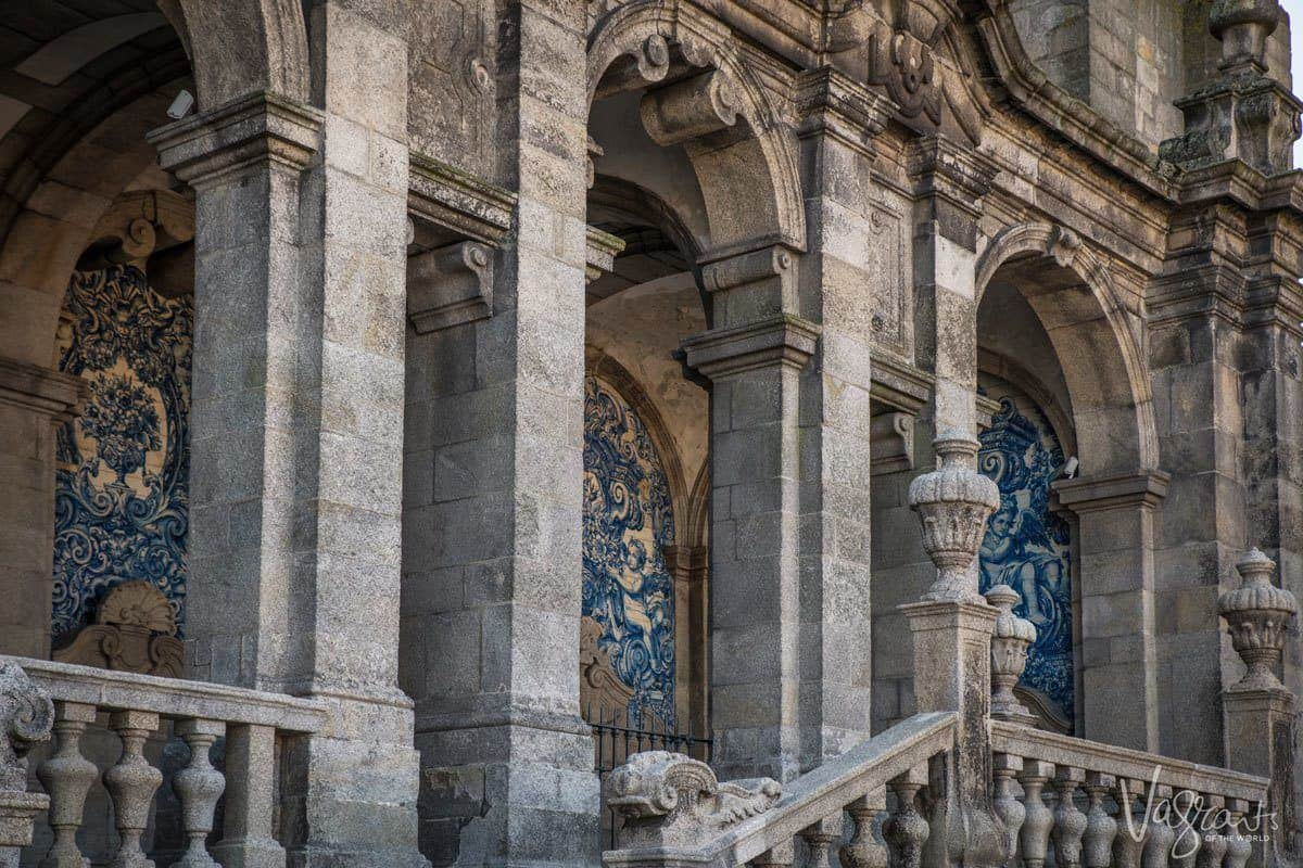 Stone steps an frescos at the entrance to Porto Cathedral