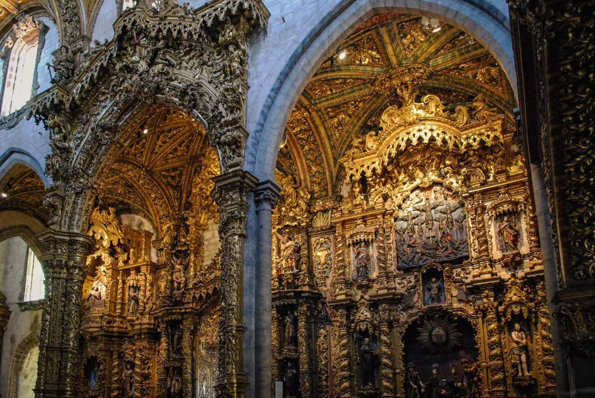 Ornate golden carvings inside Monument Church Of St Francis Porto, it is an unusual place to visit in Porto as it is hidden away.