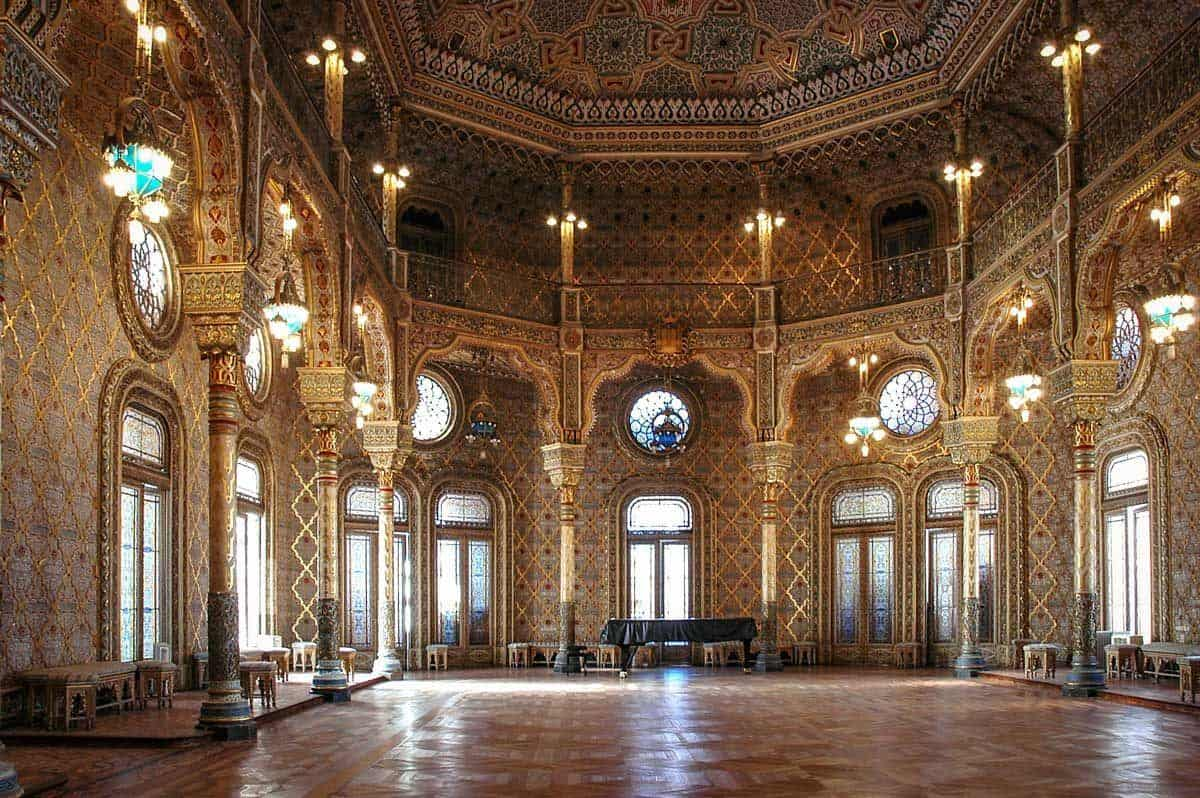 The golden room with leadlight windows inside Bolsa Palace Stock exchange building, truly one of Portos main attractions and should be included on any Porto itinerary.