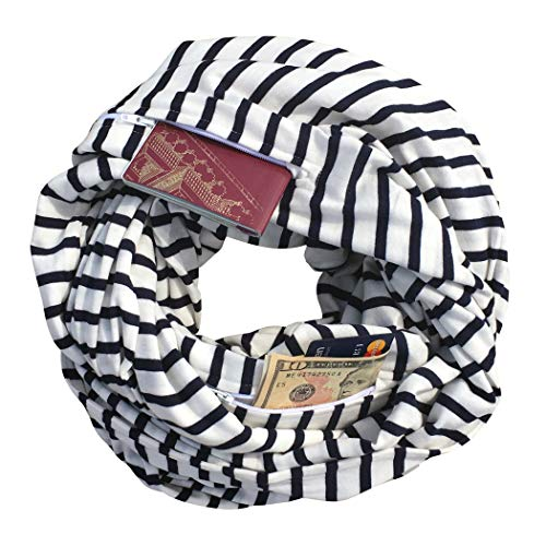 Clever Travel Companion Unisex Infinity Travel Scarf with 2 Hidden Zipper Pockets