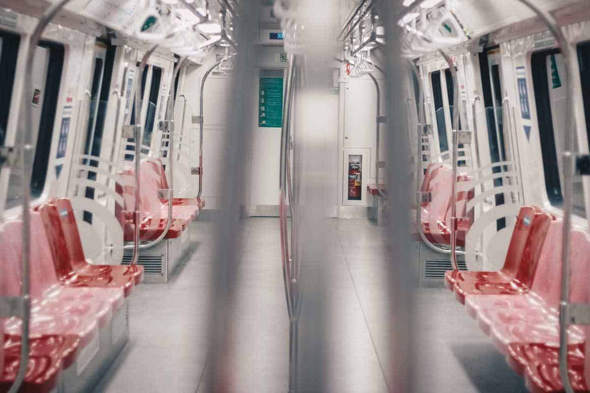 Inside a metro carriage in ultra clean Singapore.