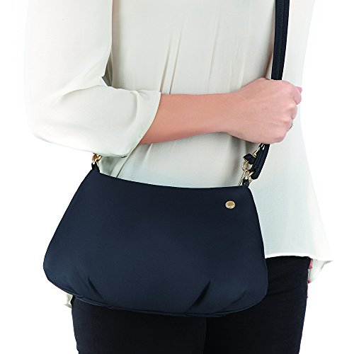 women carrying a navy blue cross body purse. The smaller size is one of the benefits of using cross body bags for travel