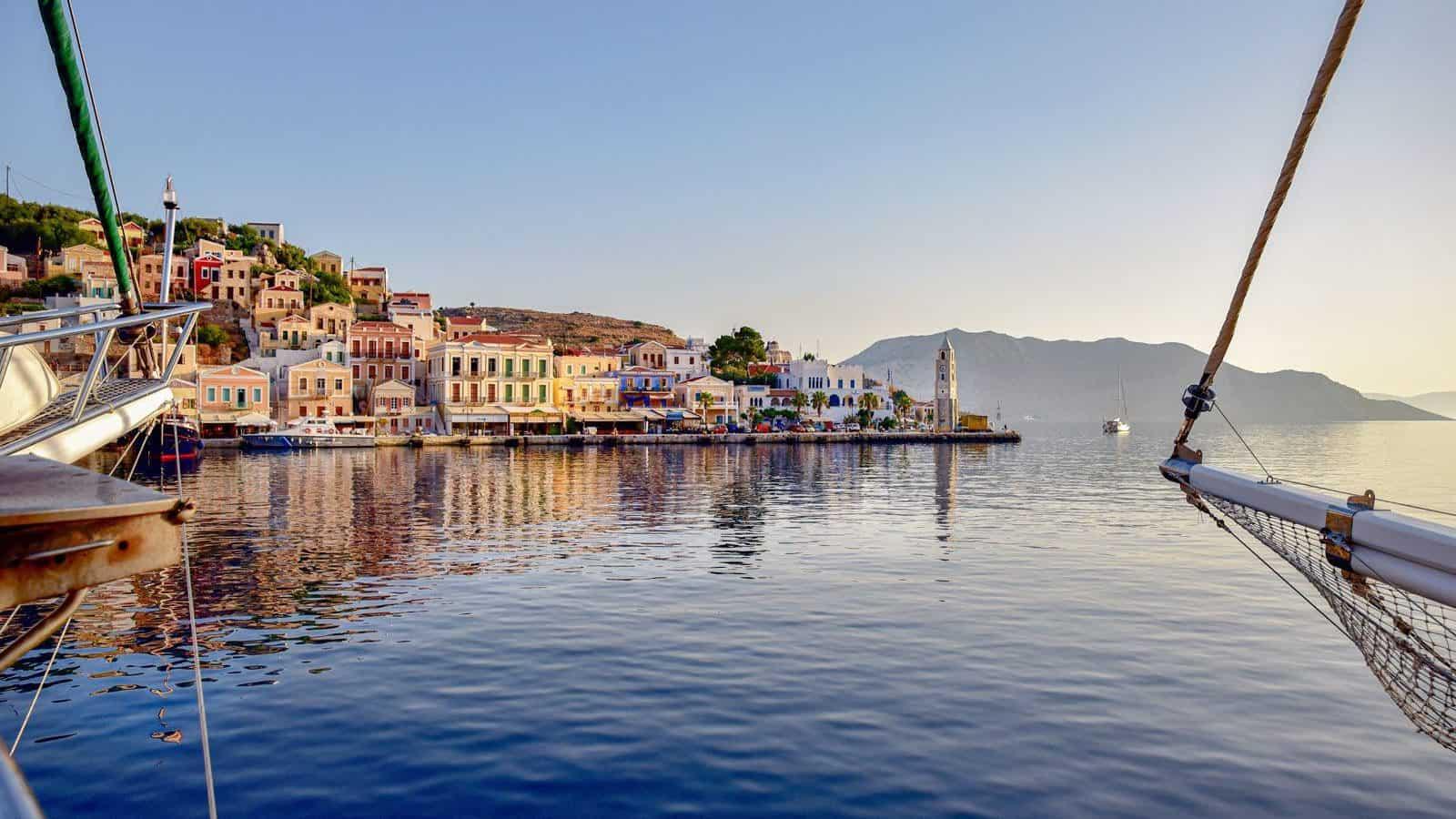 Symi island greece at sunset