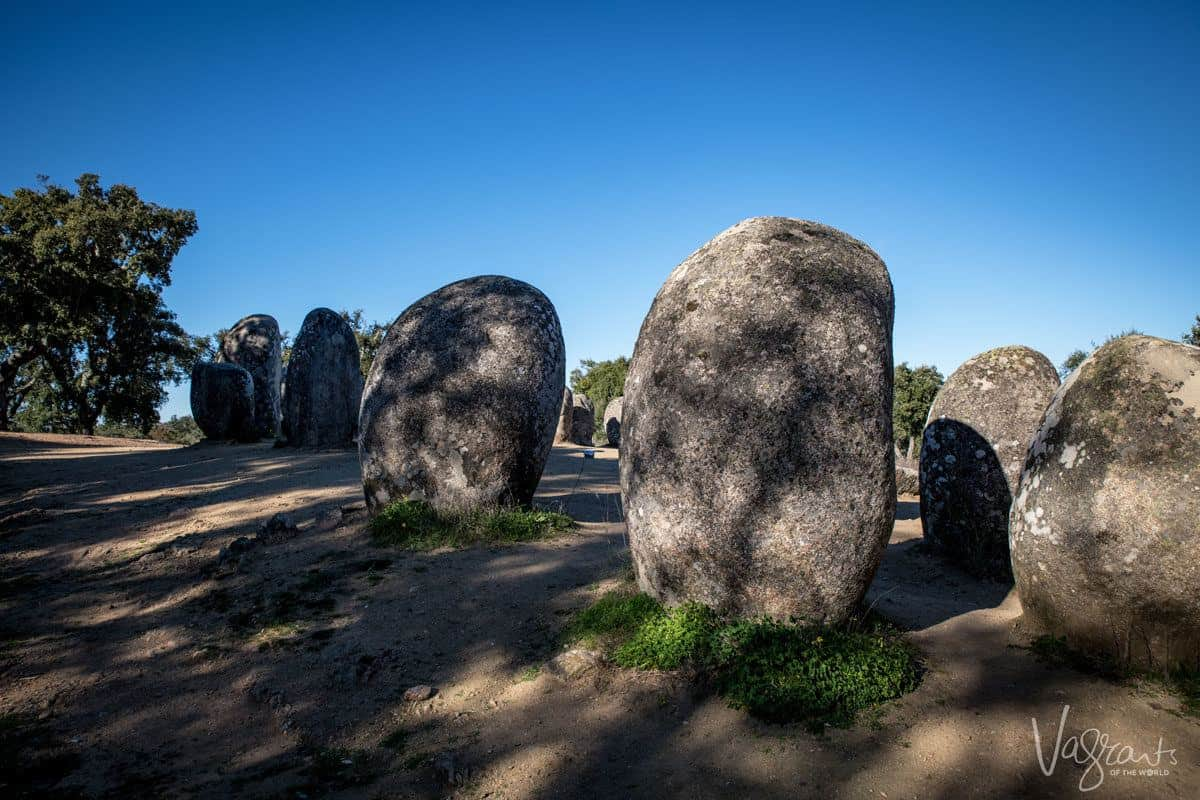 Large rocks at Almendres Cromlech, a megalithic site in Alentejo Portugal.