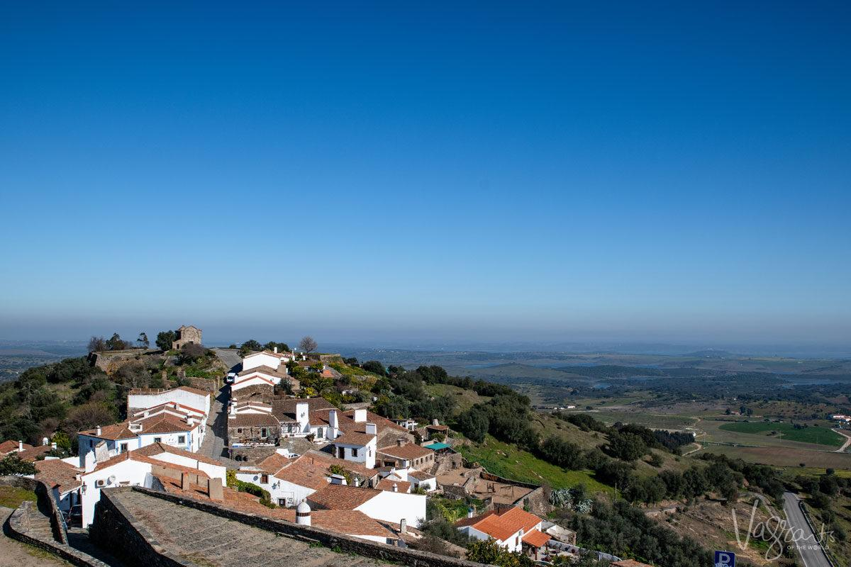 arial view of white alentejo portugal village.  Don't forget you can explore part of the alentejo with a lisbon to evora day trip.