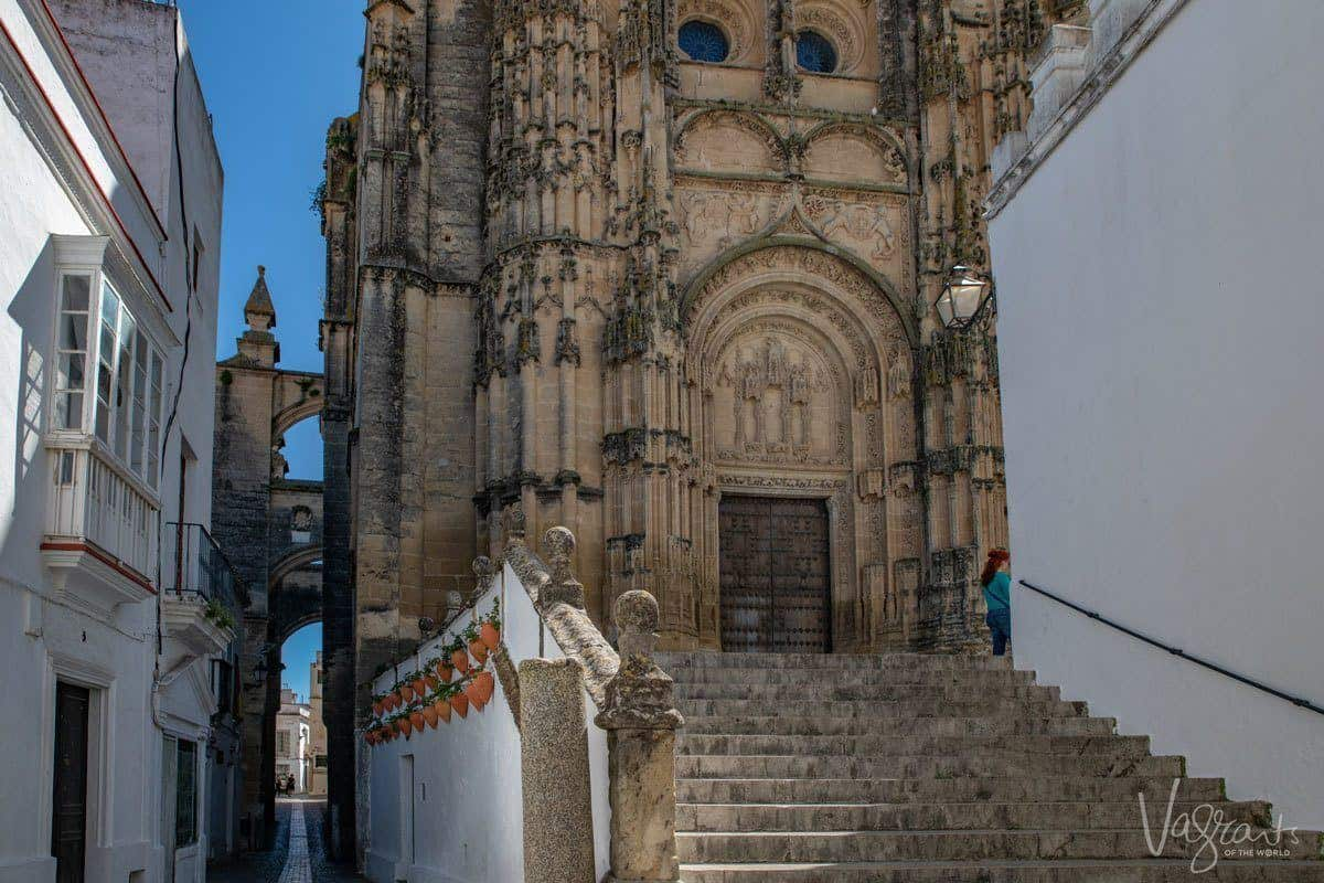 Intricately carved facade of church in Arcos de la Frontera, said to be the gateway to the Pueblos Blancos, Spain's famous white villages