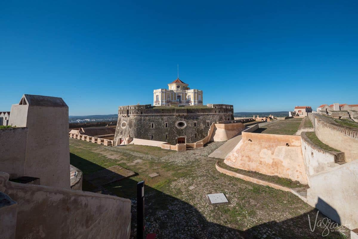 inside the star shaped forts with the central building sitting atop another small fort surrounded by a moat.  Don't miss this on your vacation to the alentejo portugal