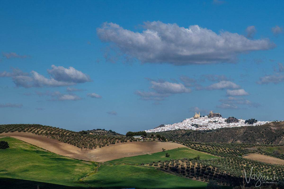 Green pastures to the cascading white village of Olvera, a must see on your southern spain white villages itinerary