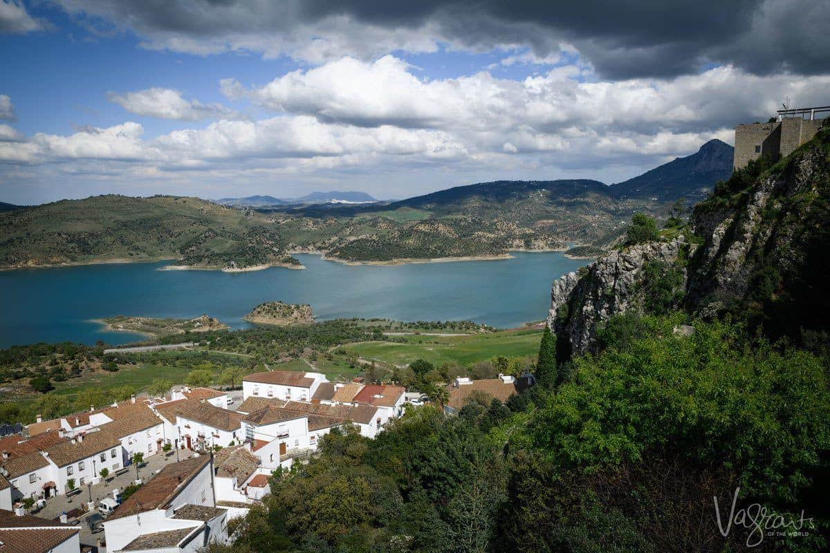 Zahara-el Gastor reservoir and white hill town of Spain.