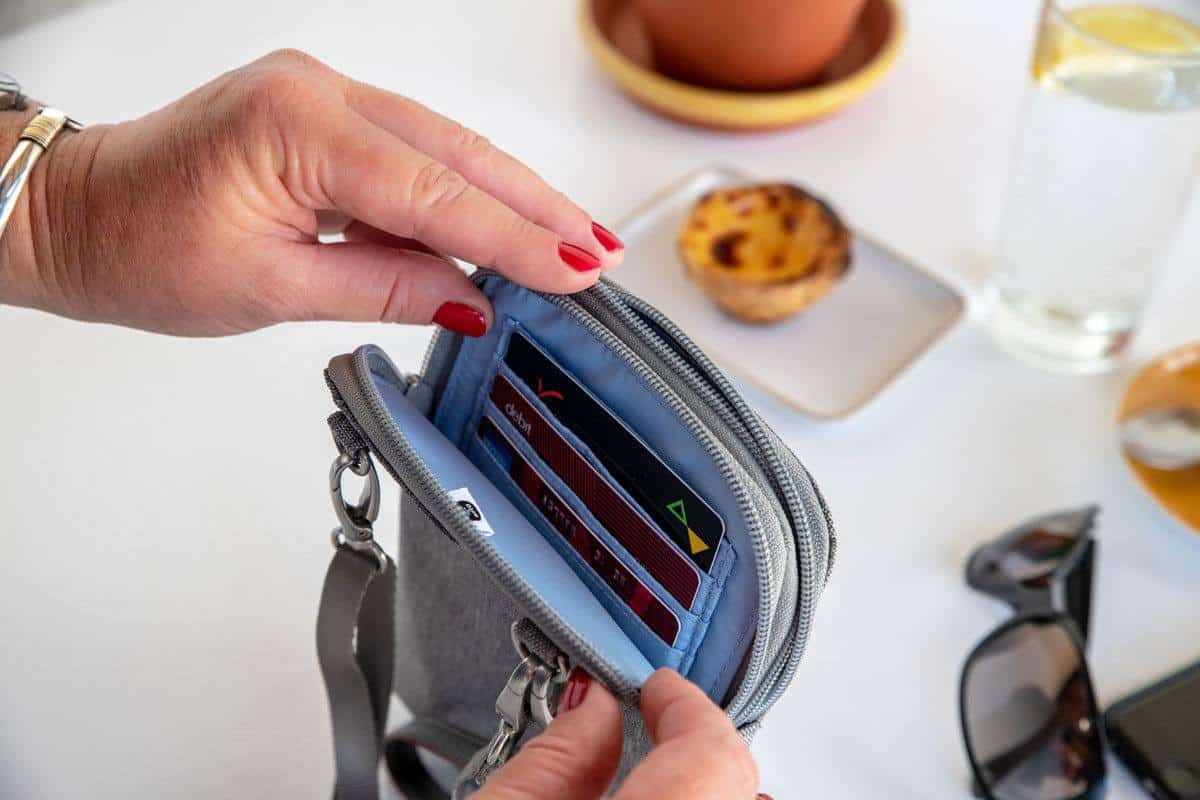 credit cards inside the rfid of this theft proof purse