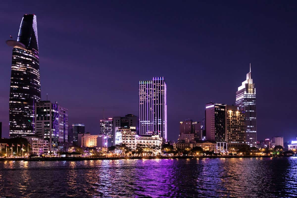 the lights of Ho Chi Minh city from the river. a saigon river cruise is one of the best things to do in Ho Chi Minh city at night