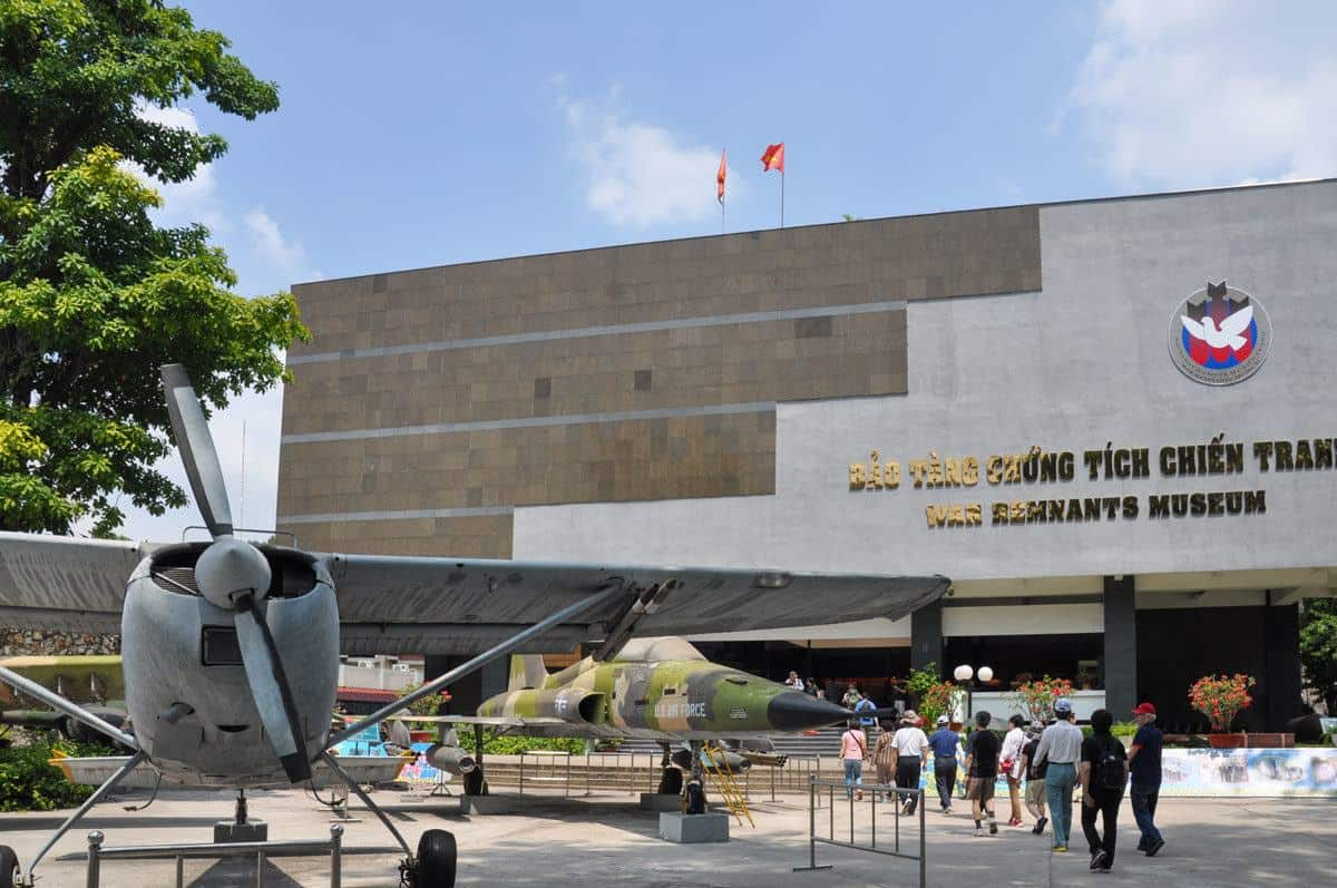 aeroplane and front of the war museum in Ho Chi Minh city. a visit here is definitely a Top thing to do in Ho Chi Minh city