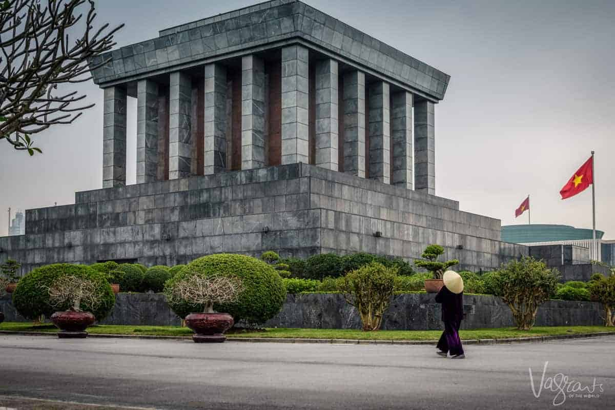 The square blocked structure which is a must see in Hanoi, Ho Chi Minh Mausoleum.