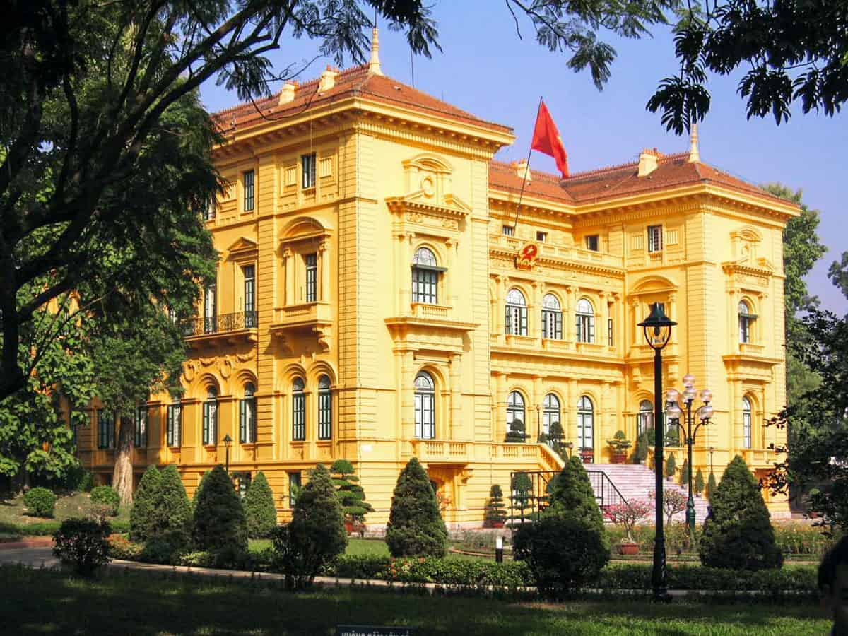 The yellow presidential palace.