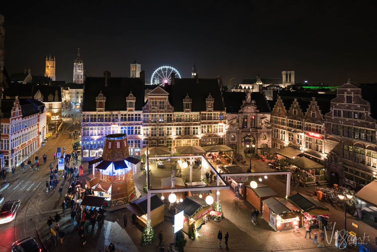 Christmas markets at night.