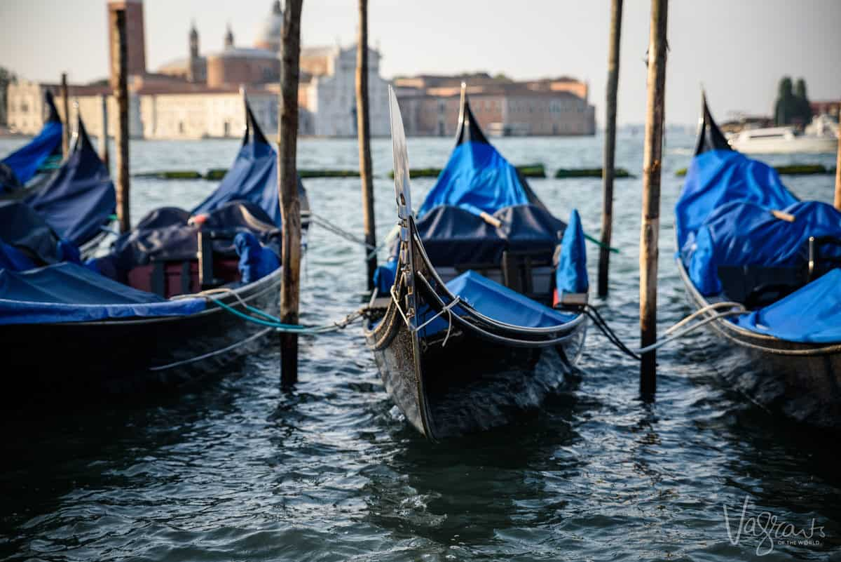 Gondolas tied up in Vencice, summer is not the best time to visit Venice due to the heat and crowds.