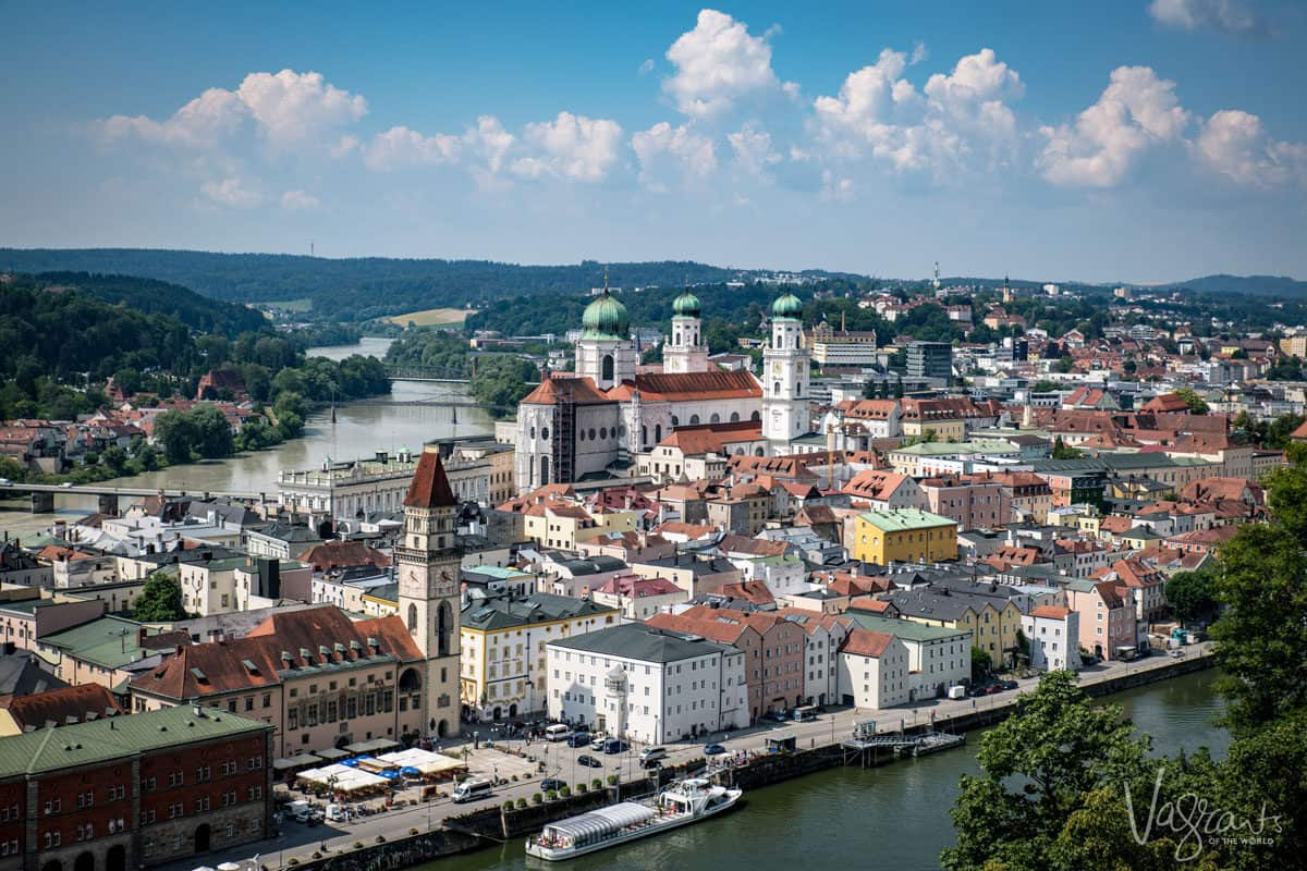 Looking down on the old town and river of Passau, spring is perhaps the best time for a European river cruise.