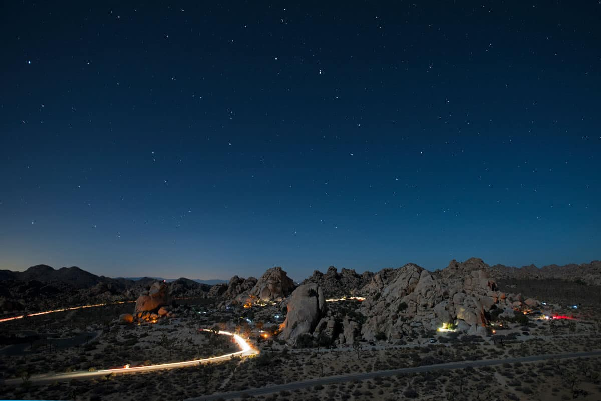 Hidden Valley camp site in Joshua tree National Park at night