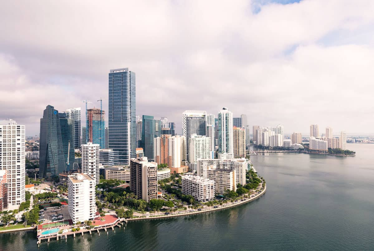 Aerial view of Downtown Miami and Brickell. Both are great places to stay in Miami for visitors.