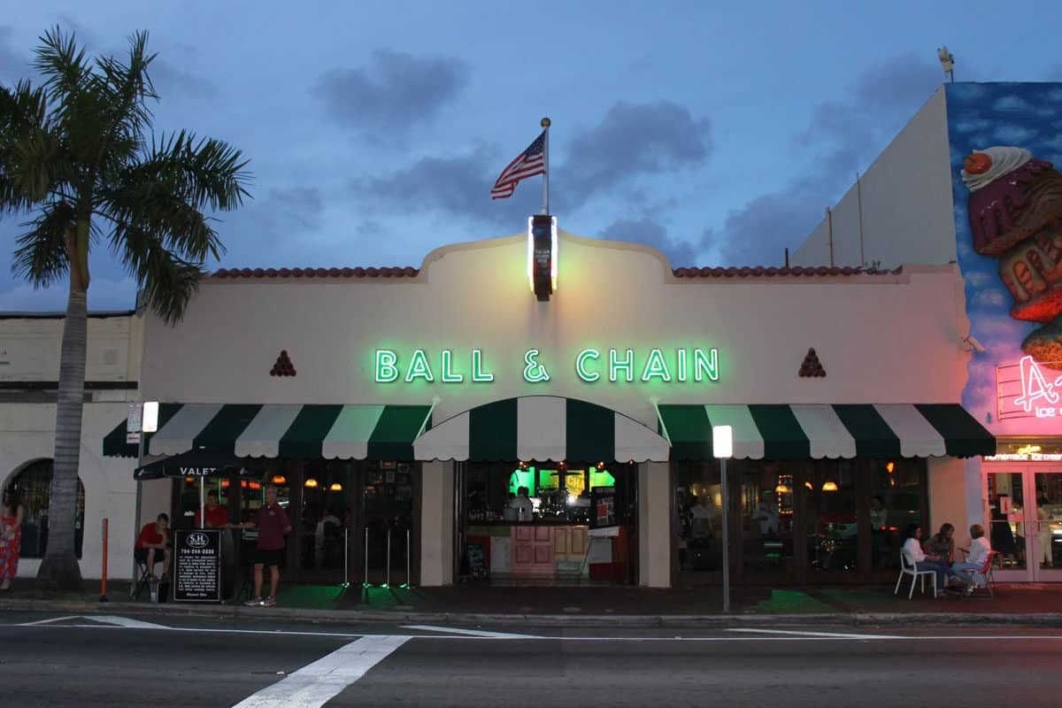 the famous Ball and Chain bar in Miami at night. You can take a free Salsa Class every Tuesday.