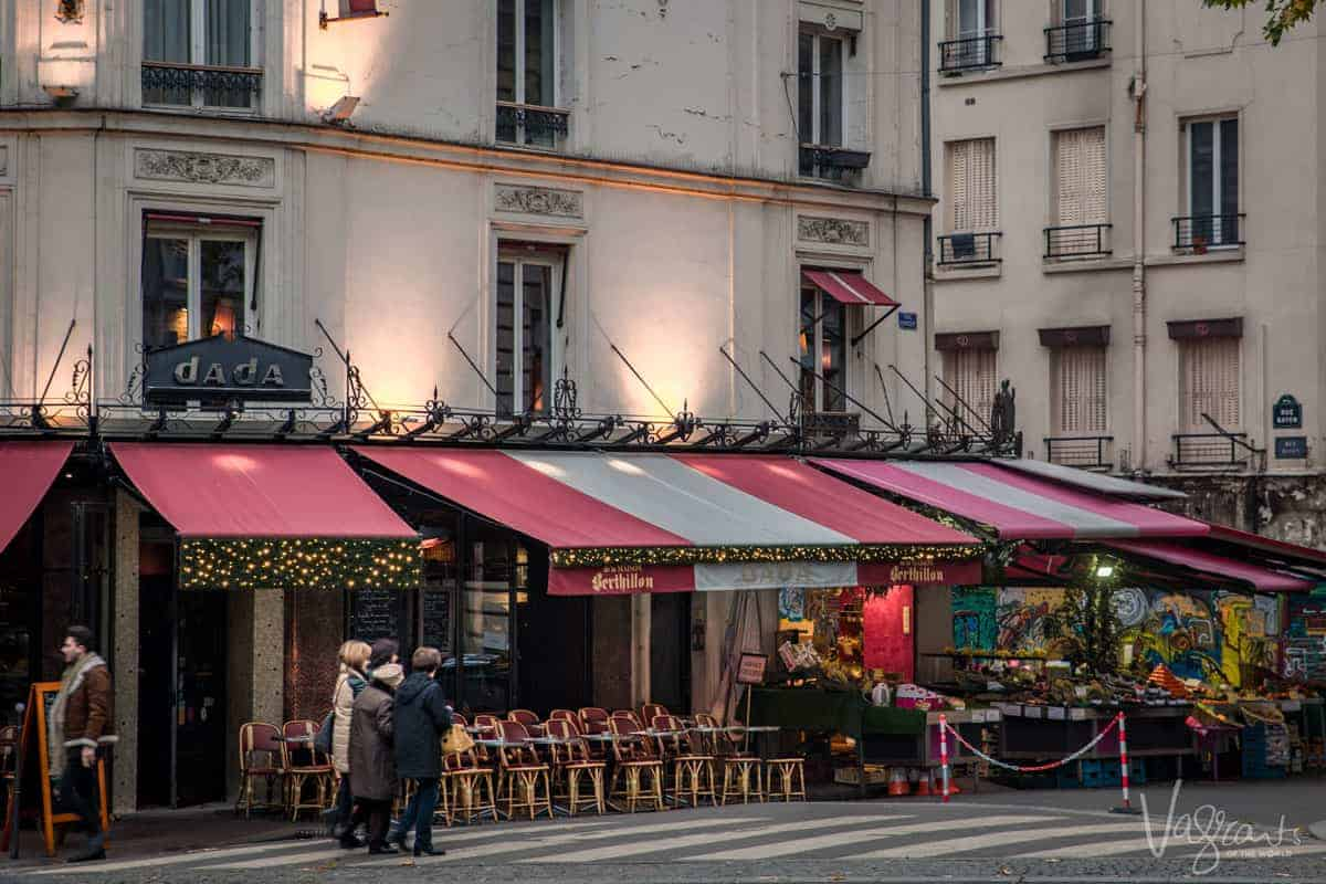 A street view of a typical Paris cafe. We visited many at the beginning of our Christmas market cruise from Paris to Switzerland