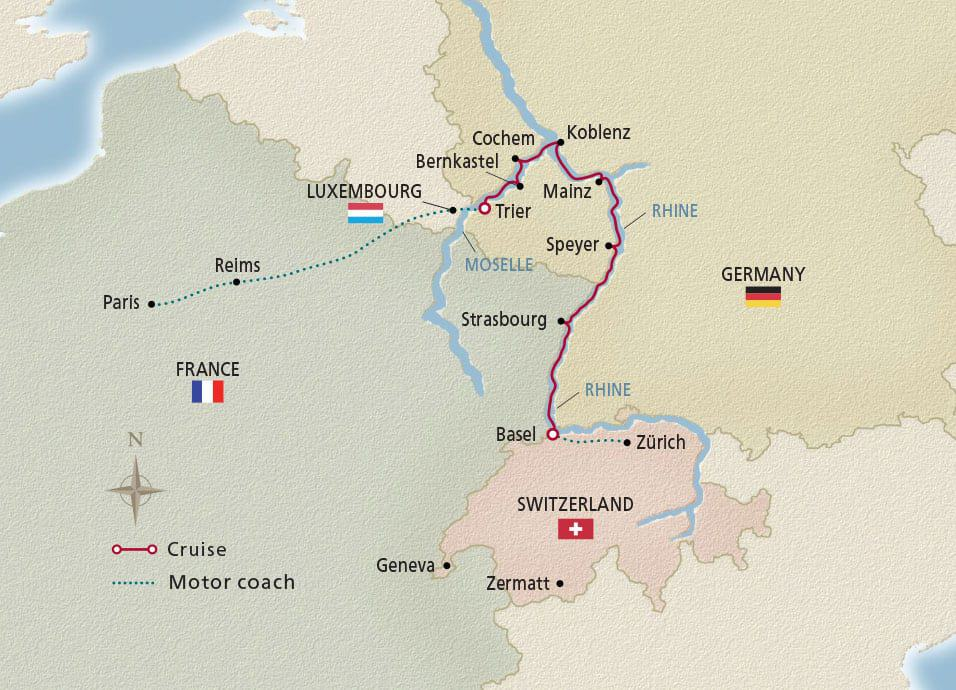Pris to the Swiss Alps river cruise map