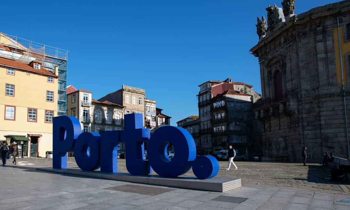 giant blue letters spelling Porto in the city of Porto Portugal