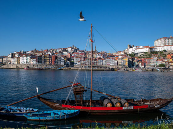Old Port wine boats moored on the Douro River with Porto Old Town in the background across the river.