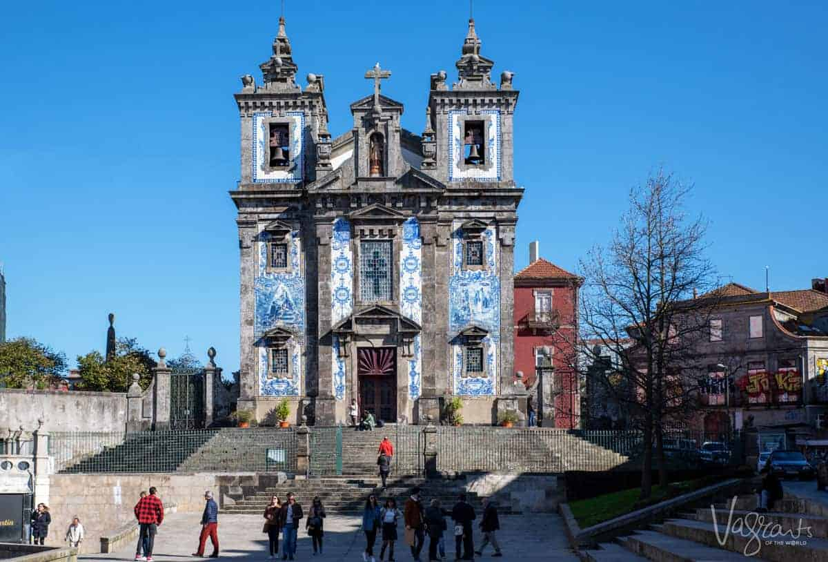 Blue tiled exterior of one of Porto's most popular attractions, Church of Saint Ildefonso in Porto.