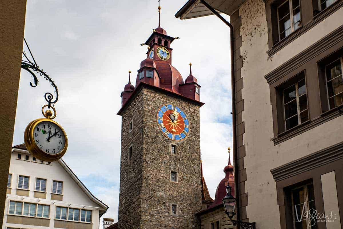 Clock tower in Old Town Lucerne.