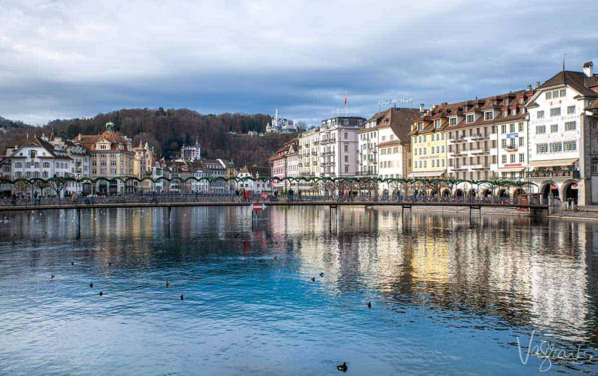 River and Old Town Lucerne Switzerland.