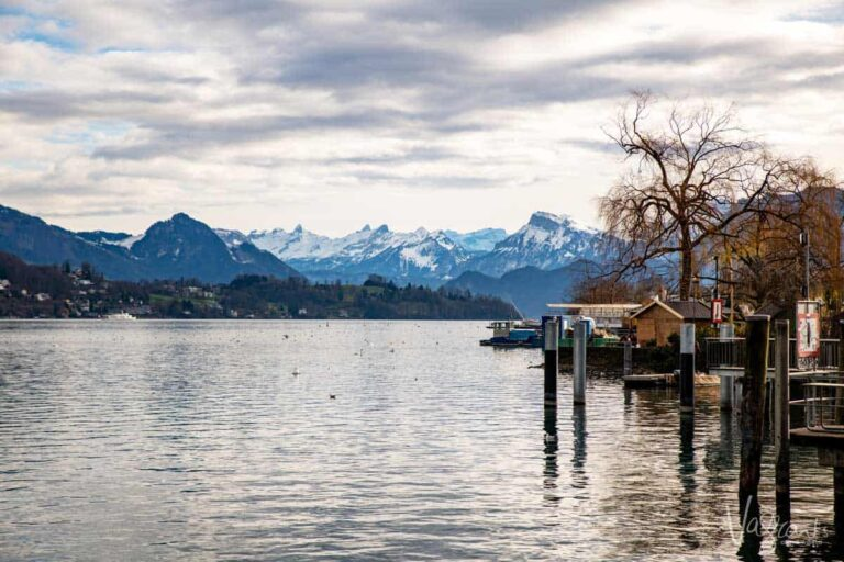 If you only have 2 days to spend in Switzerland, you must visit Lucerne. Pictured here, Lake Lucerne with the Alps in the background is one of the most beautiful places in Switzerland