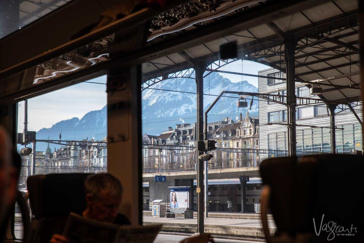Zurich station with the Swiss Alps in the background