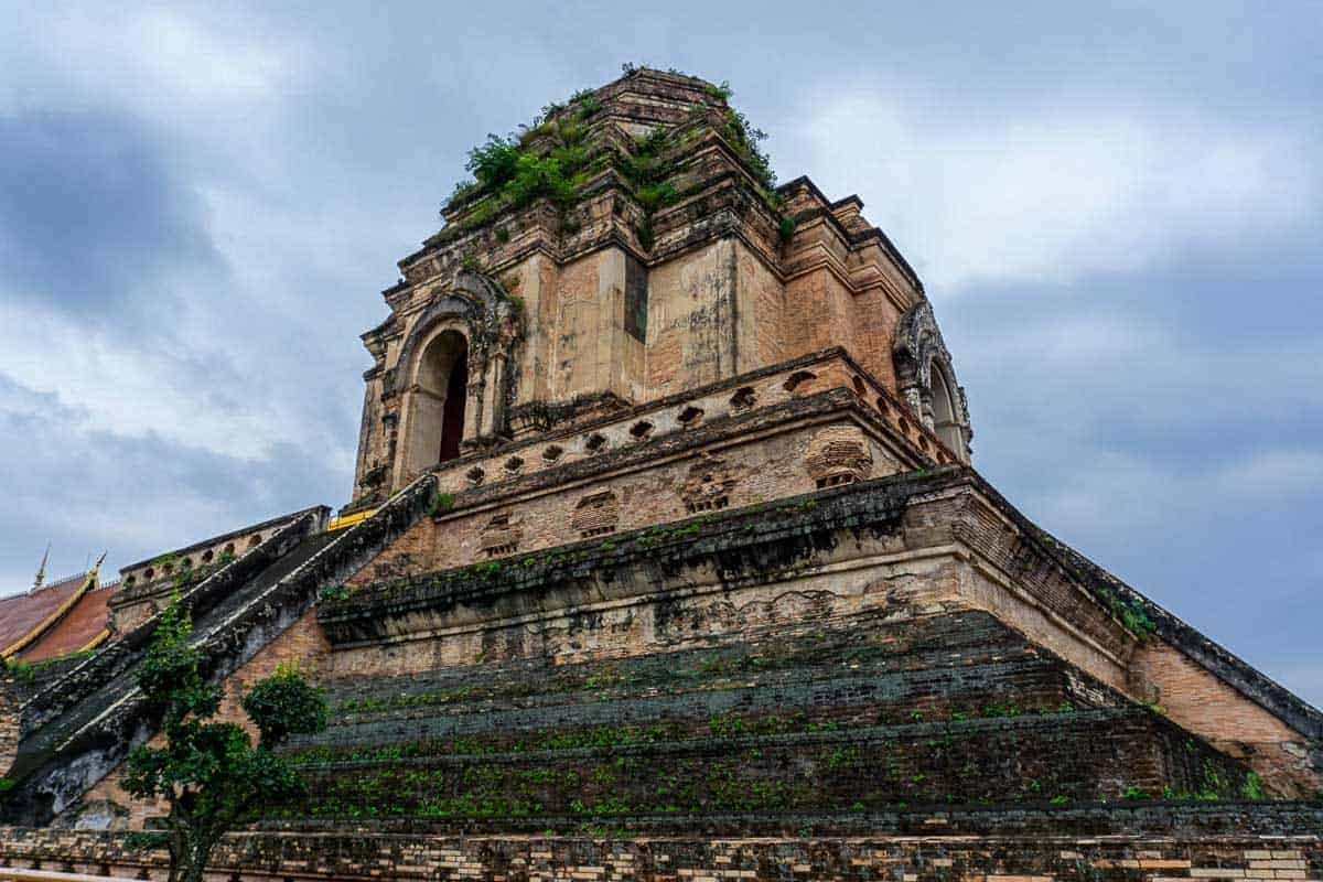 Looking up at Wat Chedi Luang temple in Chiang Mai Thailand. One stop on a 3 days in Chiang Mai itinerary