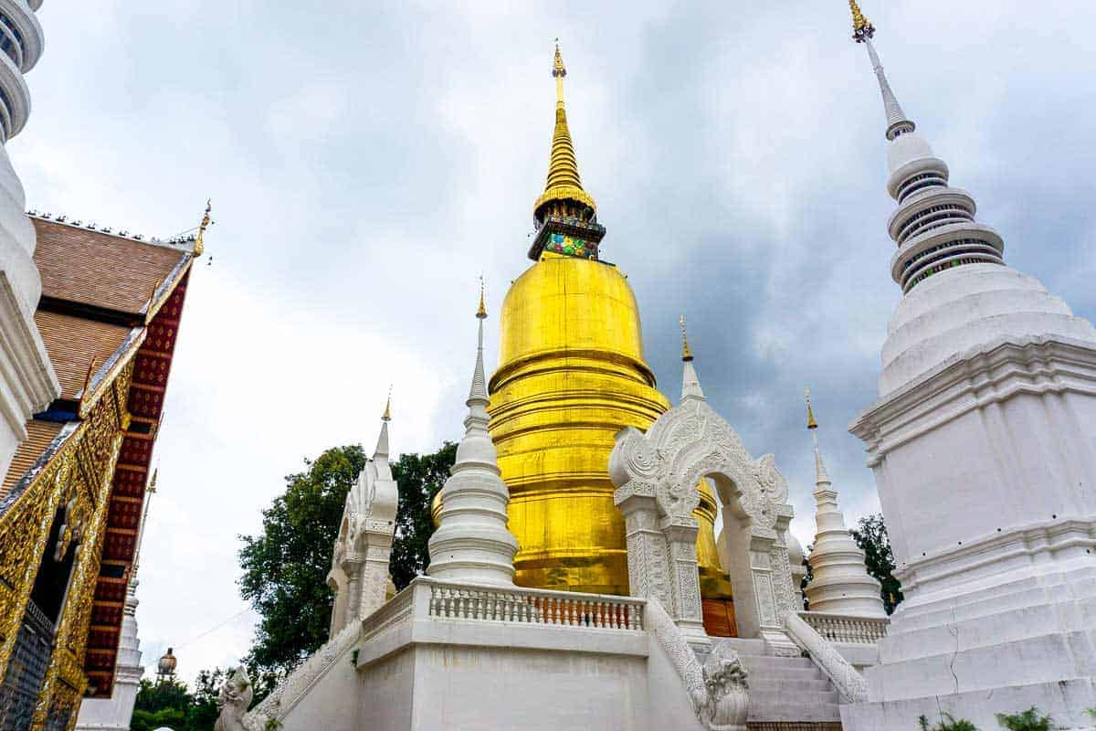 Looking up at the gold domes of Wat Suan Dok Temple in Chiang Mai. A must visit if you have 3 days in Chiang Mai